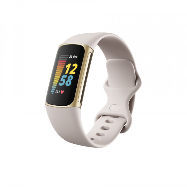 Charge 5, Lunar White/ Soft Gold Stainless Steel