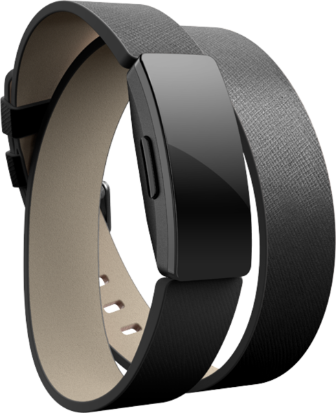 Inspire,Accessory Band,Double Leather Wrap,Black,One Si