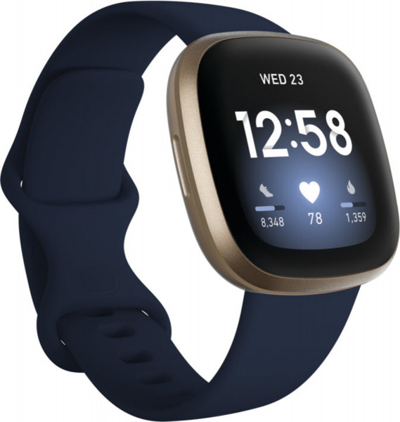 fitbit Versa 3, Midnight/Soft Gold Aluminum